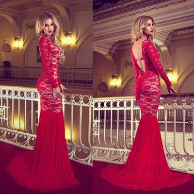 2fc397904be7 E55 full sleeve round backless sweep brush train mermaid long prom dress  hot sale