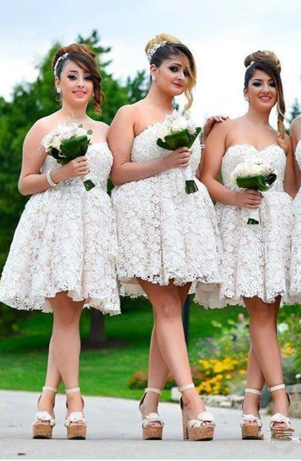 Short Lace Bridesmaid Dresses Cheap Sweetheart A Line Princess Wedding Guest Dress Custom Made Formal Cocktail Dresses Evening Wear From Balladresses