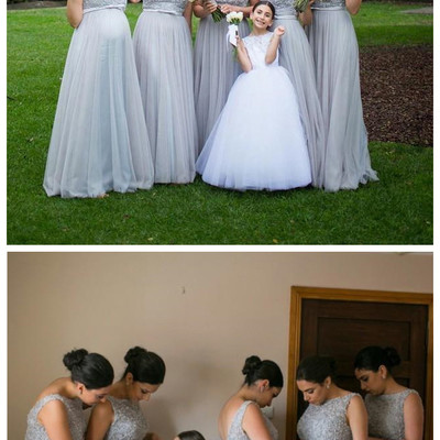 fc755f099d Silver grey tulle long bridesmaid dress lace beaded top backless sash floor  length long plus size