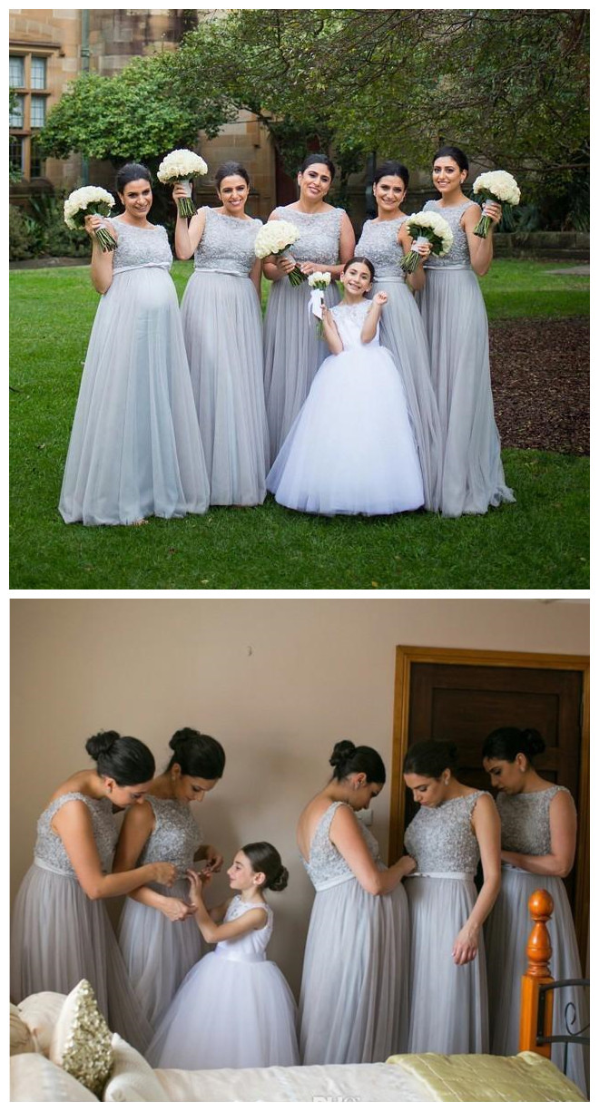 f84f2696729 Silver Grey Tulle Long Bridesmaid Dress Lace Beaded Top Backless Sash Floor  Length Long Plus Size