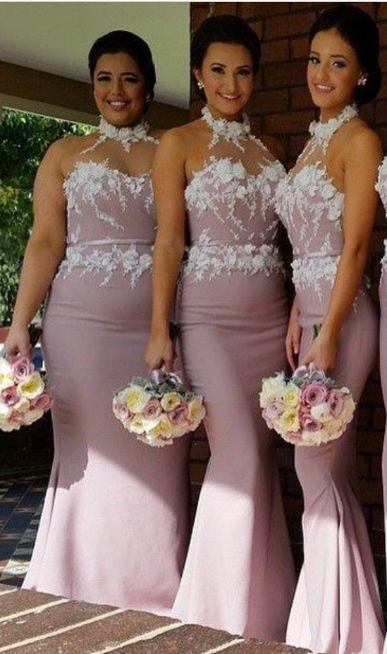 Pink Mermaid Bridesmaid Dresses Halter High Neck Lace Appliques Floor  Length Custom Made Plus Size Long Bridesmaid Dress from BallaDresses