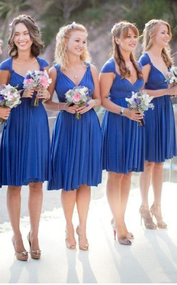 Cheap Short Bridesmaid Dresses Knee Length Junior Chiffon Wedding ...
