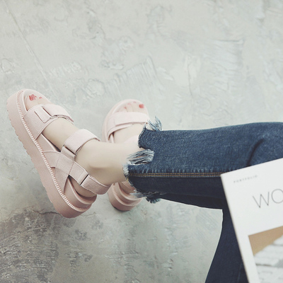 2017 wild muffled sandals female summer flat bottom students casual magic paste women shoes tide