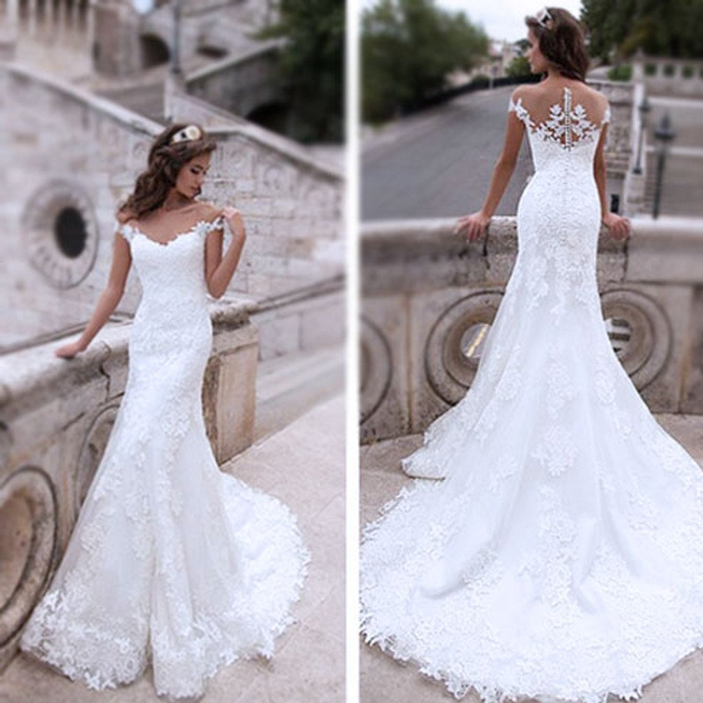 fd5c78da229 Charming Off Shoulder Sexy Mermaid White Lace Bridal Gown