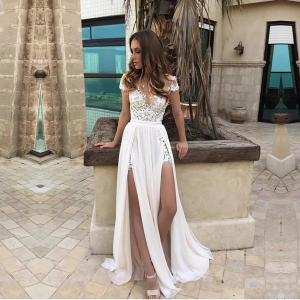 Sexy Summer Beach Wedding Dresses Side Slits A Line Bridal Gowns Yaydressy Online Store Powered By Storenvy
