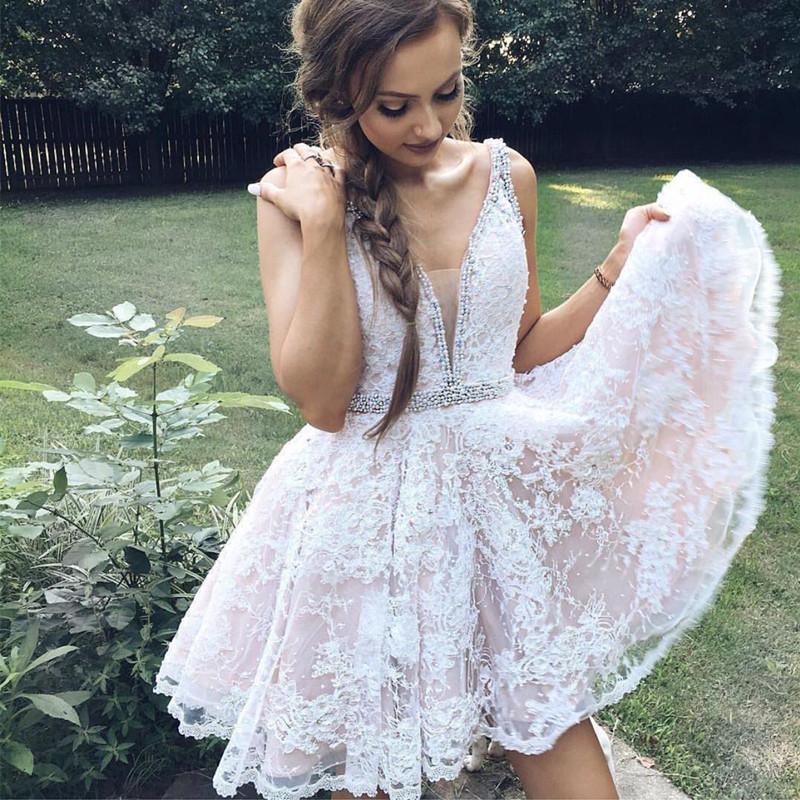 f461684752 Short V Neck Pink Lace Homecoming Dress