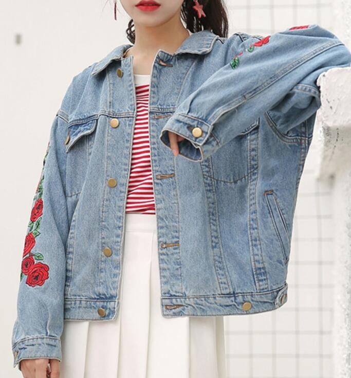 Rose Embroidered Denim Jacket On Storenvy