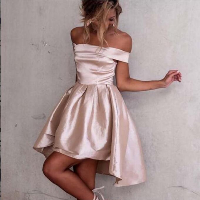 Off Shoulder High Low Pink Satin Homecoming Dress,Short Pink Satin ...