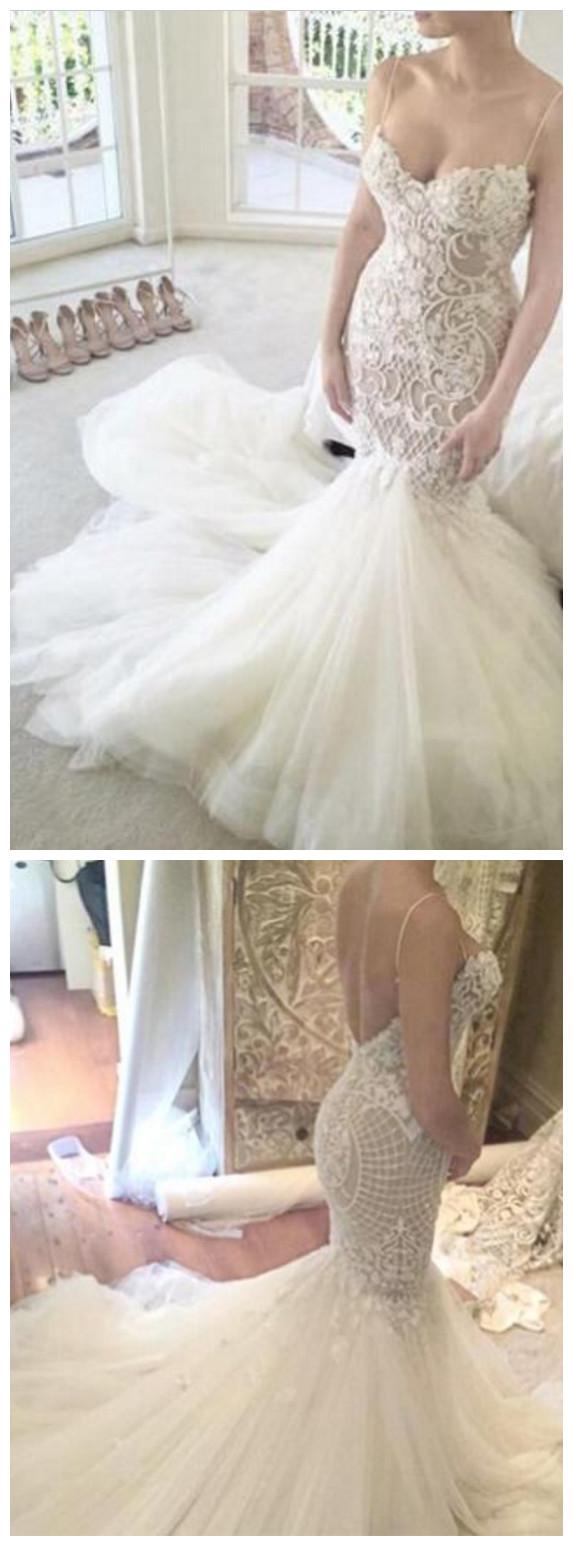 6f69ac088cb78 Ivory Mermaid Backless Spaghetti Straps Court Train Lace Tulle Wedding Dress