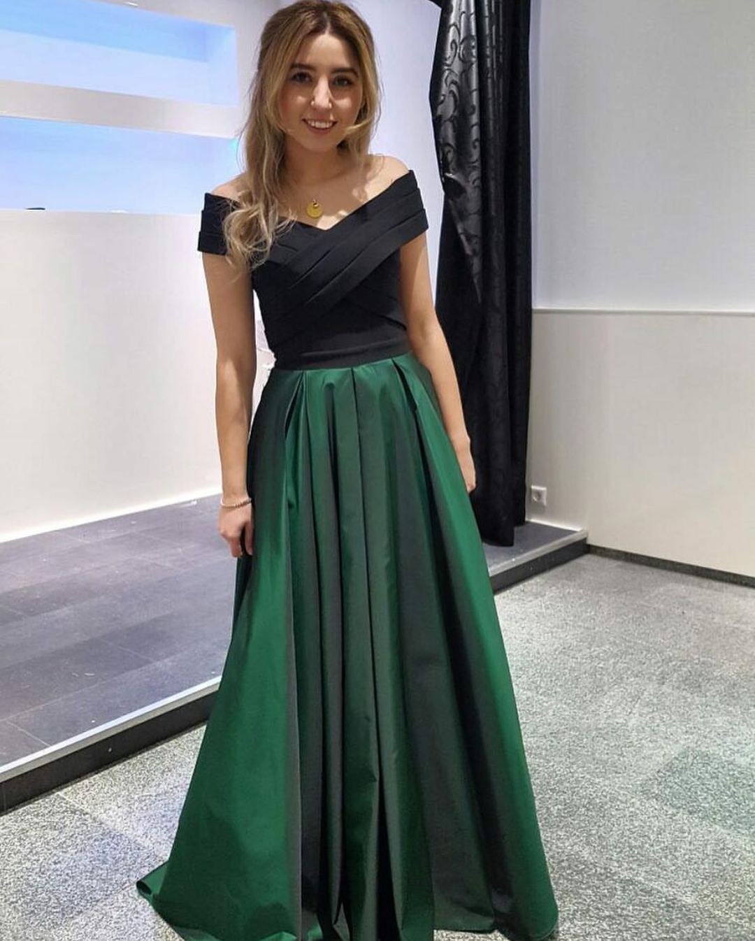 4bc13dcd6f1f Dark Green Off Shoulder Long Satin Formal Elegant Prom Dress