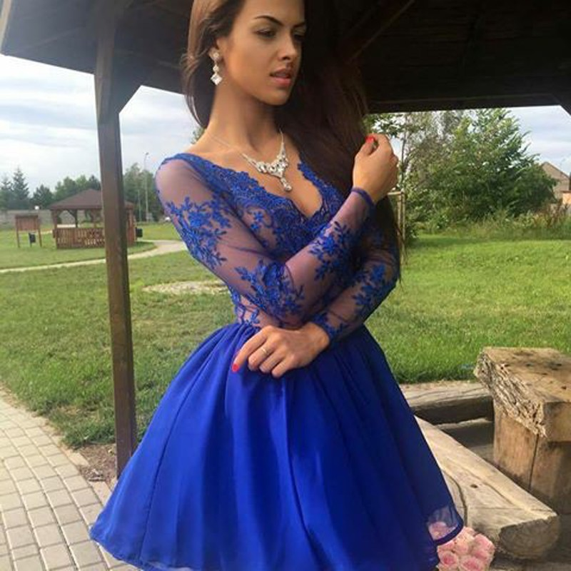 a5c0950256a Charming Deep V Neck Short Royal Blue Homecoming Prom Dress with Lace on  Storenvy