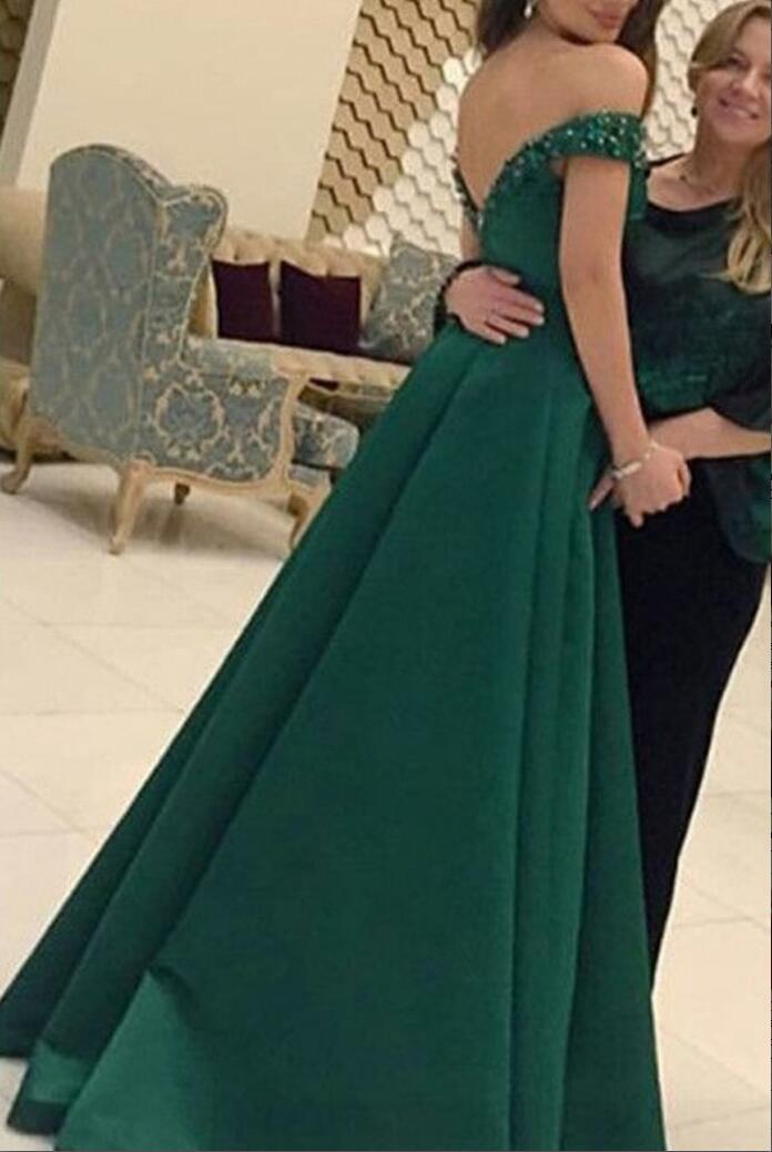 7f625b11ff35 Prom Dress Long Prom Dress Dark Green Ball Gown Satin Prom Dress Off ...