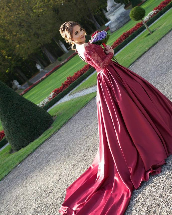 9bbedcea35d E78 Luxurious Off Shoulder Long Sleeves Ball Gown Red Prom Dress ...