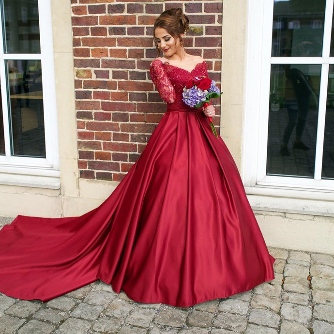 Luxurious Off Shoulder Long Sleeves Ball Gown Red Prom Dress,Off ...