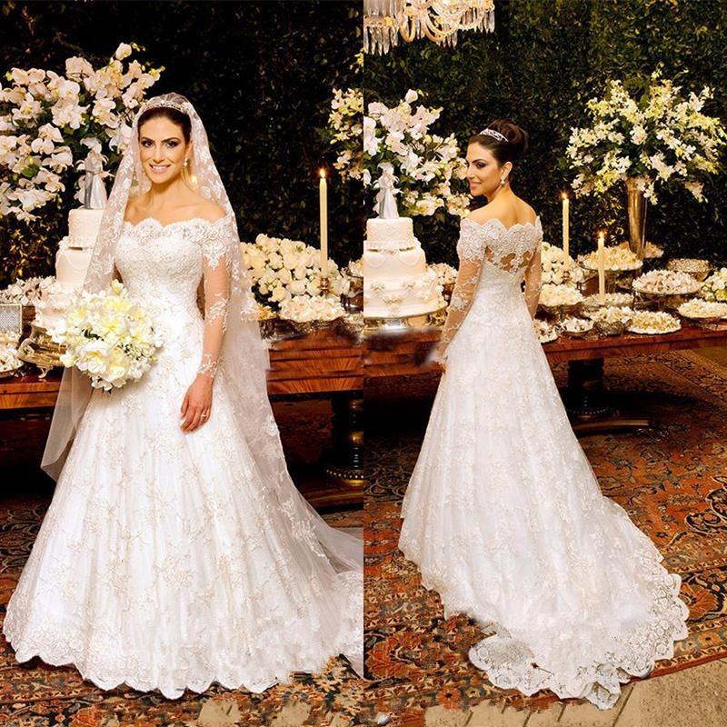 E81 Vintage China Lace High Neck Long Sleeve Lace Muslim Wedding ...