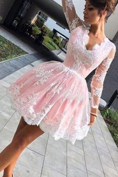 a519a3abf33 Long Sleeves White Lace Pink Satin Short Prom Dresses Homecoming ...
