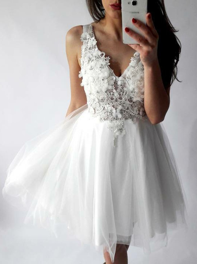 4ccb7123c38 New Arrival A-Line V-Neck Short White Tulle Lace Homecoming Dress ...