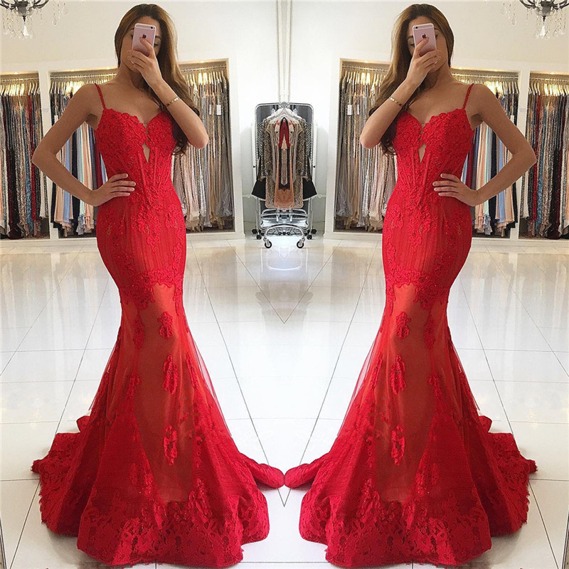 Red Mermaid Spaghetti Strap Lace Gorgeous Evening Dress
