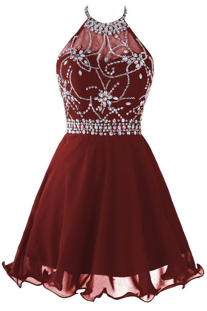Dark Burgundy Halter Beaded Homecoming Dresses Short Sparkle Prom
