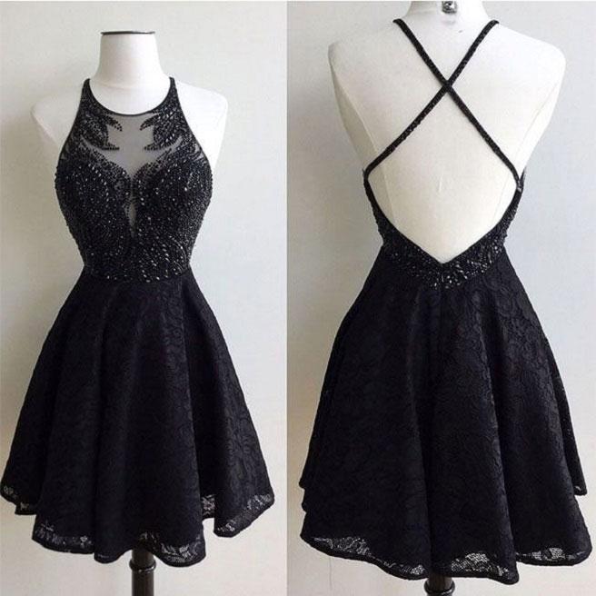 Halter Black Lace Homecoming Dresses Shinny Homecoming