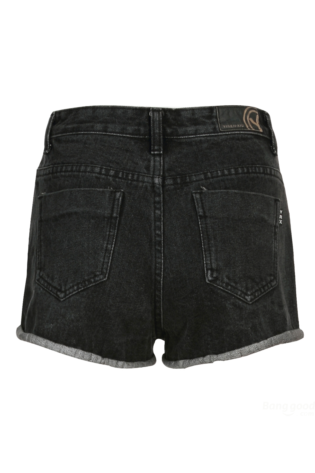 8a363e23 Women's Denim Shorts Sweet & Simple Vintage Black Fringe Ripped on ...