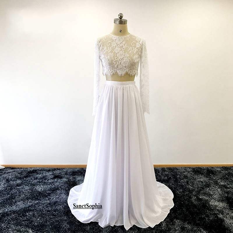 81c3f471a6b8 Two Piece Wedding Dress,Long Sleeves Lace Bridal Dress,Fashion Two Piece  Lace Wedding