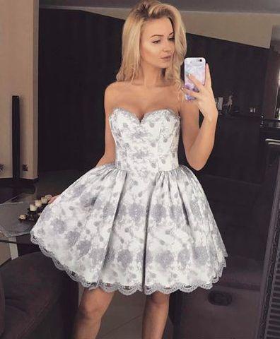 e8963684a25 Cute A-line strapless short prom dress