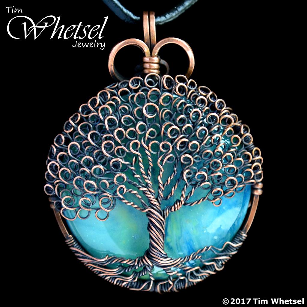 Green Orgone Copper Tree Of Life Pendant Loop Leaves