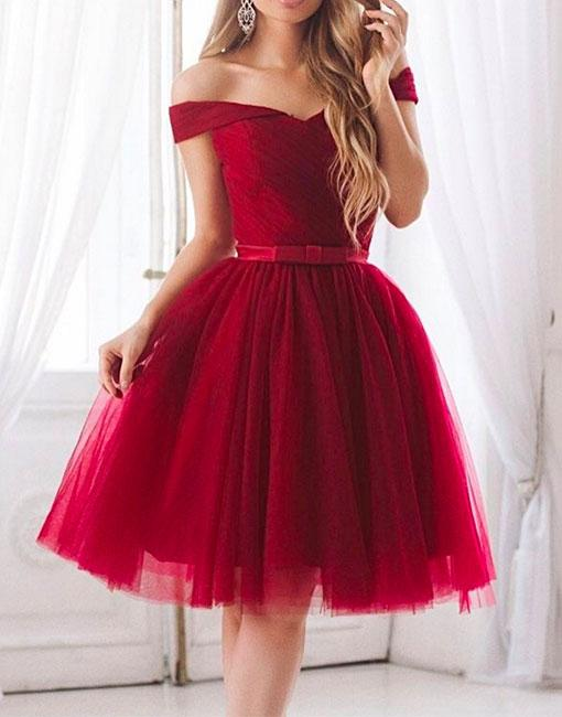 90046a64aa Cute 20burgundy 20tulle 20off 20shoulder 20homecoming 20dress 20with 20sash  2ca 20line 20short 20prom 20dress original