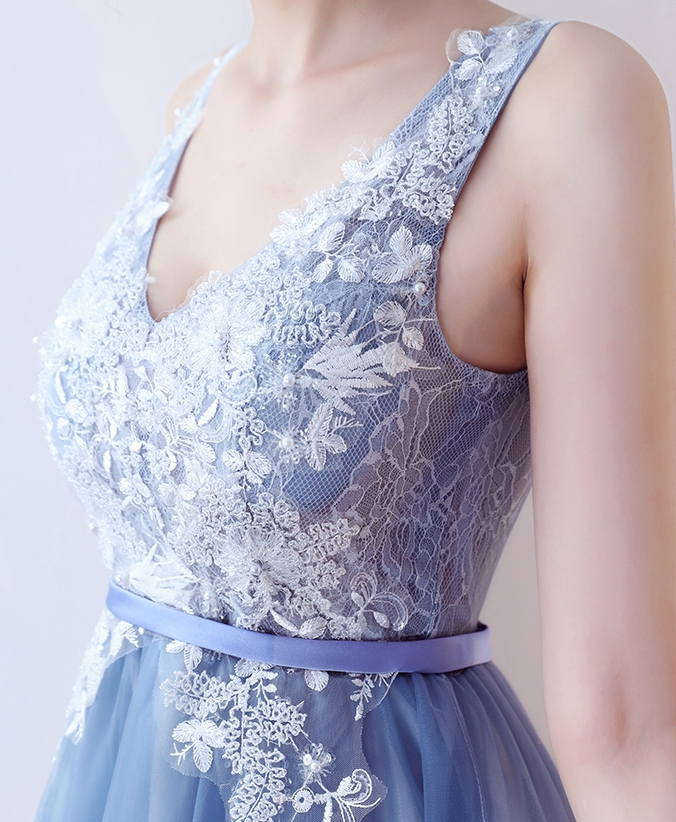 79a4a64a7795 Cute blue v neck lace knee length prom dress, homecoming dresses -  Thumbnail ...