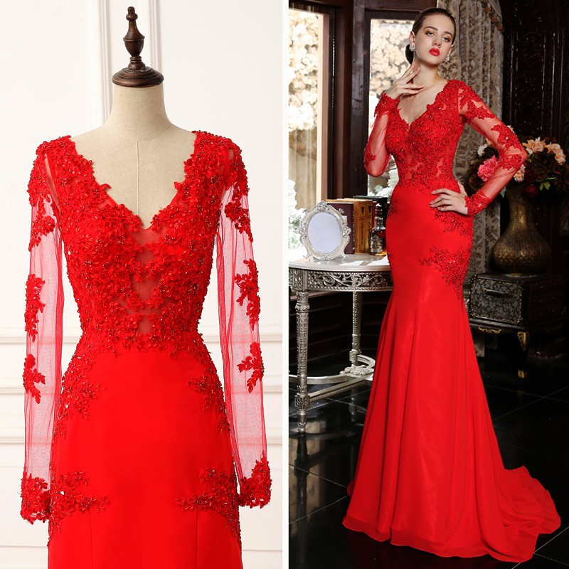 5224318dd1fa8 V Neck Sheath Long Sleeve Red Lace Evening Dress,Sexy Red Lace Prom Dress  with