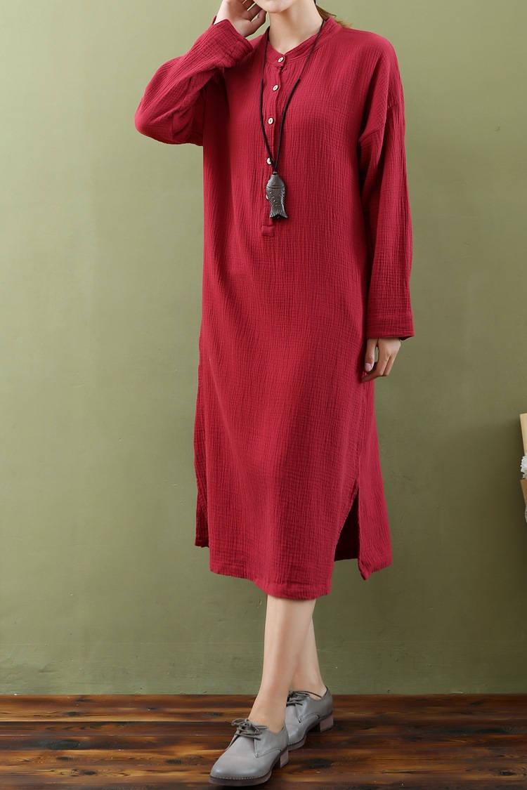 f0e5e8a496 ... 2017 new spring dress – Original cotton and linen double-layer cotton  long-sleeved ...