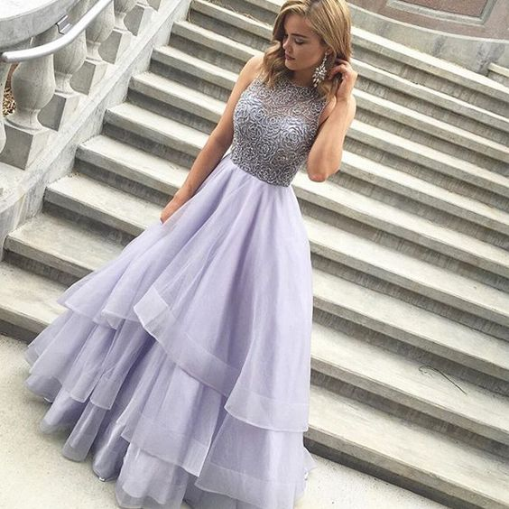 Long prom dress, beaded top prom dress, elegant prom dress ...