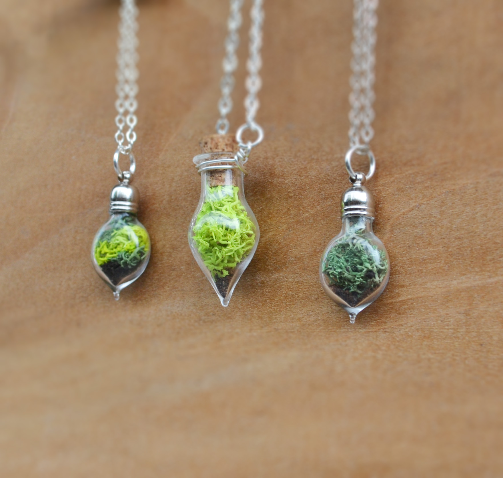 Moss Necklace Spring Jewelry Glass Terrarium Necklace Miniature