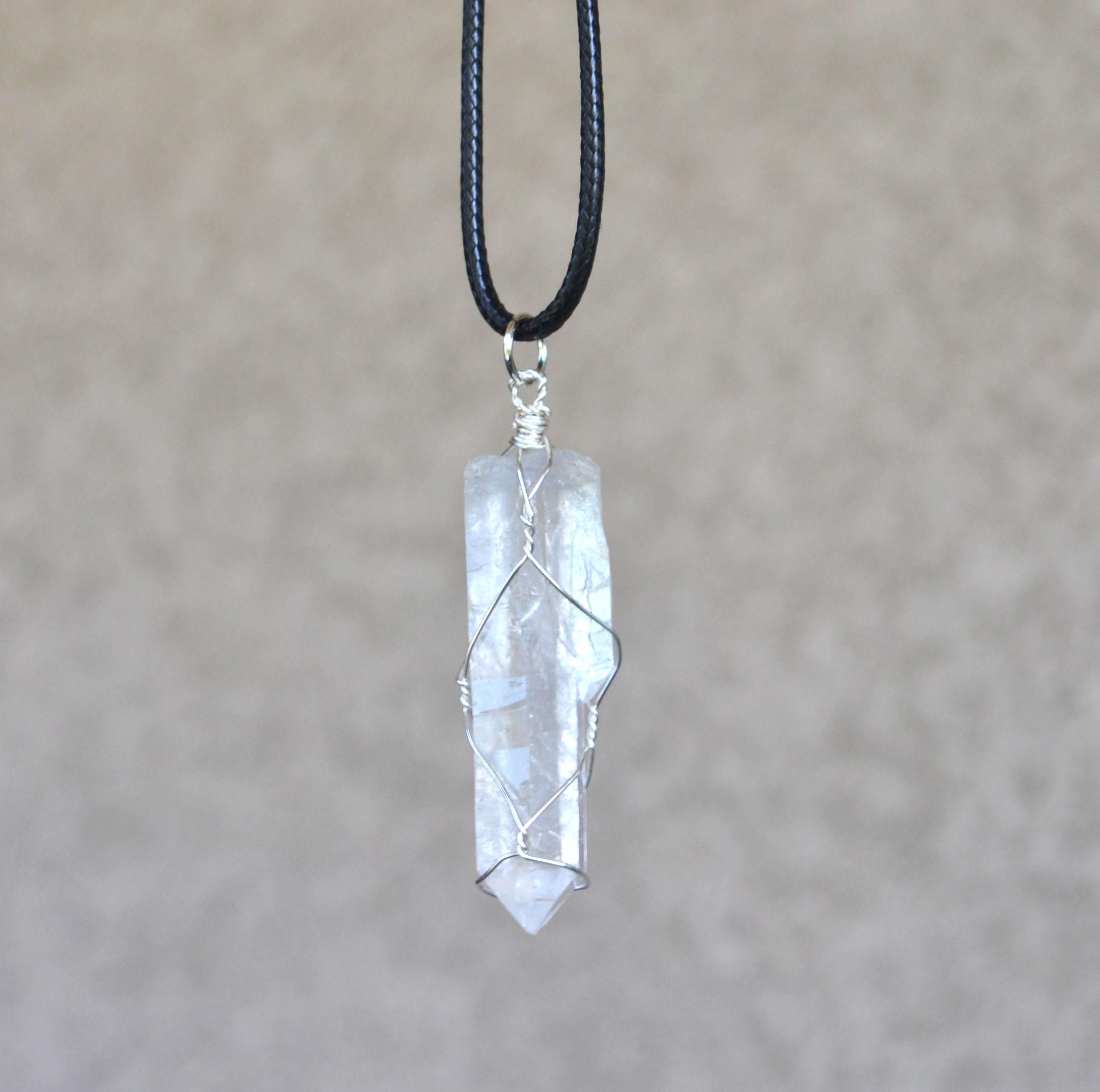 Clear quartz crystal point necklace crystal point necklace wire clear 20quartz 20crystal small aloadofball Choice Image