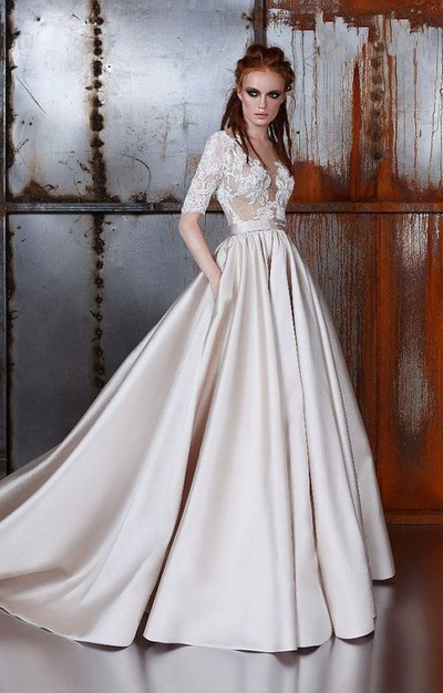 Half Sleeve Champagne satin A-line Lace Prom Wedding ...