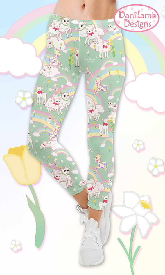 d7a0ab6a40ff4 Rainbow Leggings Kawaii Fairy Kei Leggings Flower Field Pastel Cute ...