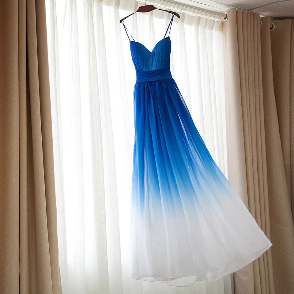 Spaghetti Straps Long Prom Dressesroyal Blue And White Prom Dress