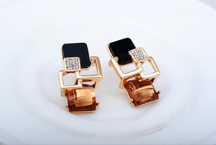 09a9fe9c2 Fashion 20jewelry 20fine 20gold 20stud 20earring 20crystal 20rectangle  20gemstone 20earring 20for 20women 20girls 20(3
