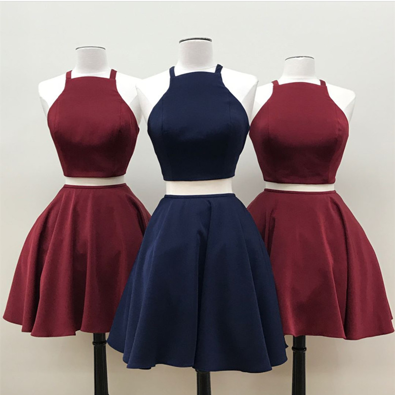 ca5358247788 Simple two pieces short prom dress, burgundy, navy blue short satin ...