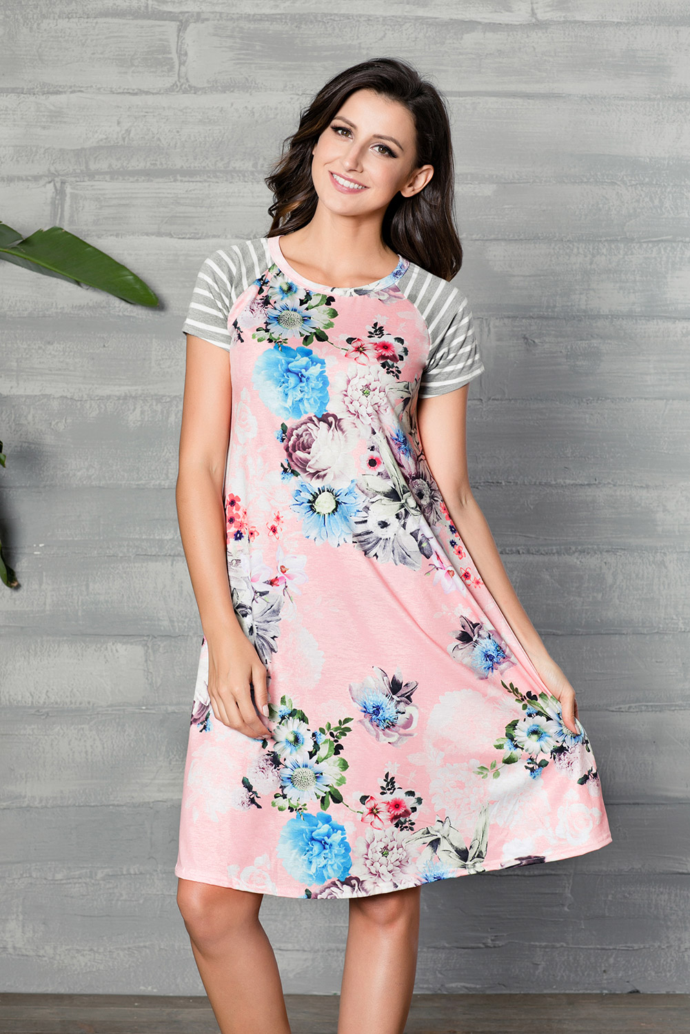 468573aa04 summer T-shirt Dress women Backdrop Floral Print A-line casual Loose mini  dresses
