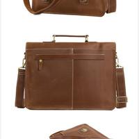 6fa9f59bad ... Handmade Top Grain Brown Tan Real Leather Messenger Bag Laptop Bag Men  Women  Business Briefcase ...