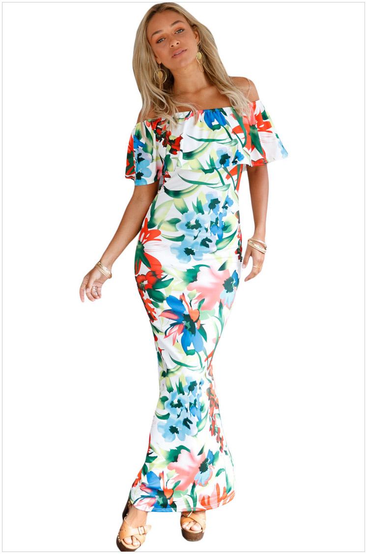 e32930ba5a45 Off 20the 20shoulder 20maxi 20dresses 20summer 20holiday 20party 20print  20gowns 20vestido 20festa 20largo 20robes 20(