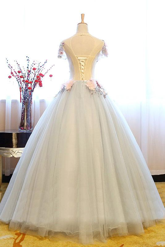 c58684d113 Gray tulle lace appliqués long sweet 16 prom dress with sleeves - Thumbnail  ...