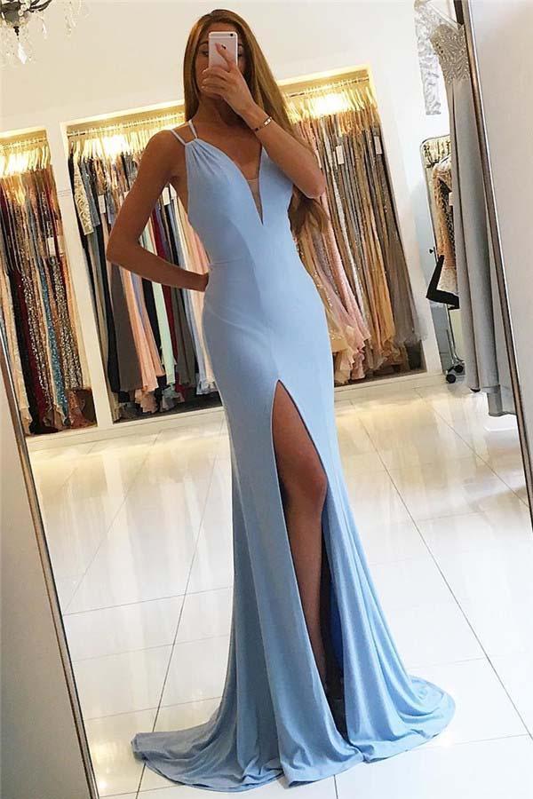 Long Sky Blue Mermaid Prom Dresses,Elegant Spaghetti Straps Prom ...