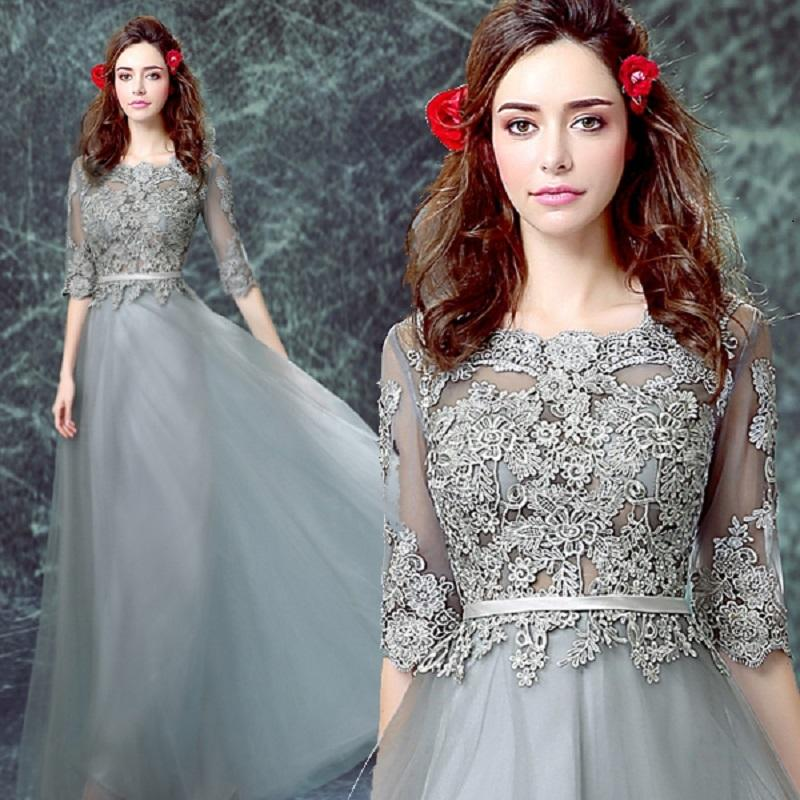Grey Bateau Tulle A Line Prom Dress, 3/4 Sleeves Formal Gown With ...