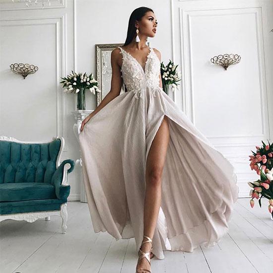 d99428836be Stylish light champagne lace chiffon long prom dress