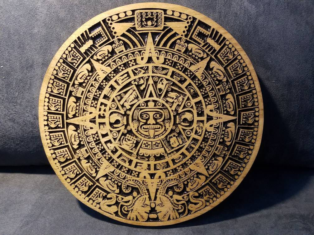 Aztec Calendar Aztec Art Indian Art Wooden Wall Art Wooden Home Decor Aztec Wooden Calendar Friend Gift Unique Gift Ashland City Tn