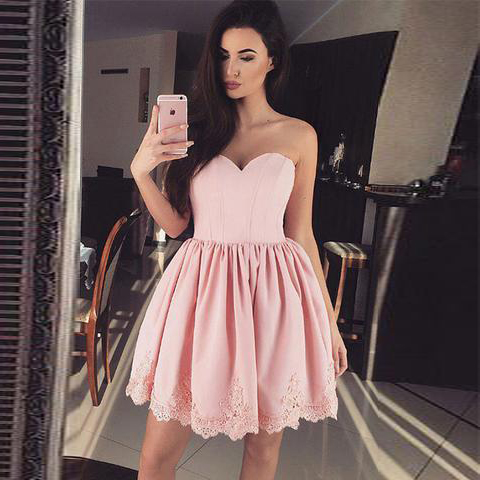 Cute Pink Sweetheart Babydoll Cocktail Dress Homecoming Dress