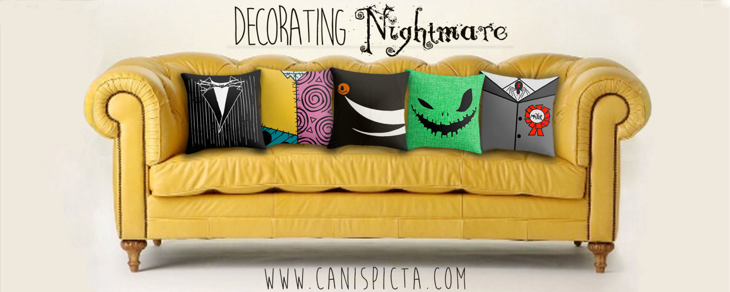 Nightmare Before Christmas Collection Pillow Cover Living Room Decor Couch Throw Decorative Halloween Jack Skellington Burton Sally Zero Oogie Boogie Canis Picta Fine Pop Art Online Store Powered By Storenvy